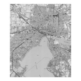 Vintage Map of Jacksonville Florida (1950) BW Poster