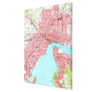 graphic about Printable Map of Jacksonville Fl named Common Map of Jacksonville Florida (1950) Canvas Print