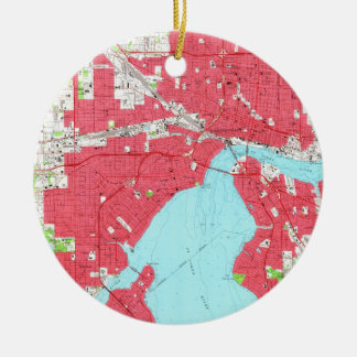 Vintage Map of Jacksonville Florida (1964) 2 Ceramic Ornament
