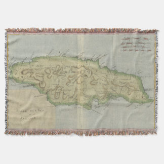 Vintage Map of Jamaica (1780) Throw Blanket