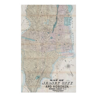 Vintage Map of Jersey City and Hoboken (1886) Poster