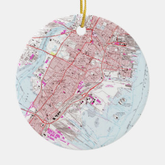 Vintage Map of Jersey City NJ (1967) Ceramic Ornament