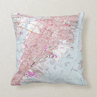 Vintage Map of Jersey City NJ (1967) Throw Pillow