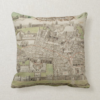 Vintage Map of Jerusalem Israel (16th Century) Throw Pillow
