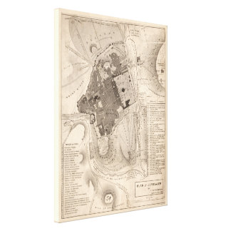 Vintage Map of Jerusalem Israel (1835) Canvas Print