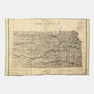 Vintage Map of Kansas (1884) Kitchen Towel