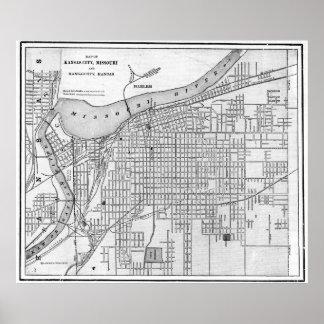 Vintage Map of Kansas City Missouri (1901) BW Poster