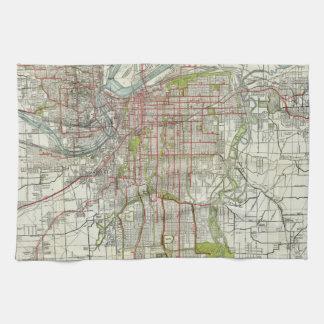 Vintage Map of Kansas City Missouri (1920) Kitchen Towel