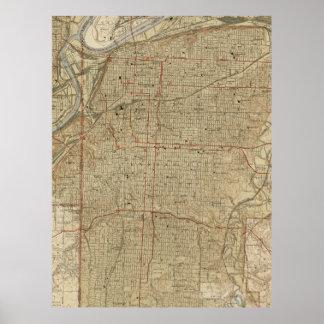 Vintage Map of Kansas City Missouri (1935) Poster