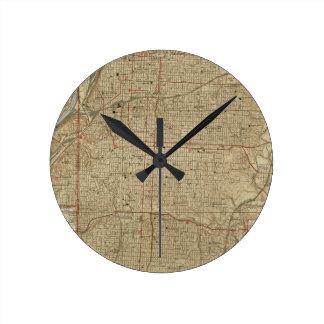 Vintage Map of Kansas City Missouri (1935) Round Clock