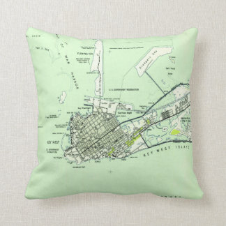 Vintage Map of Key West Florida (1943) Throw Pillow