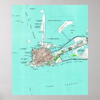 Vintage Map of Key West Florida (1962) Poster