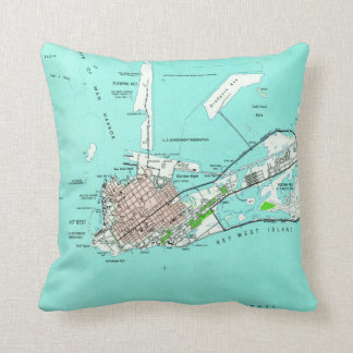 Vintage Map of Key West Florida (1962) Throw Pillow