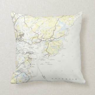 Vintage Map of Kittery Maine (1944) Throw Pillow