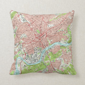 Vintage Map of Knoxville Tennessee (1966) Throw Pillow