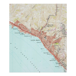 Vintage Map of Laguna Beach California (1965) Poster