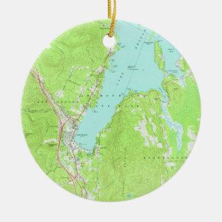 Vintage Map of Lake George New York (1966) 2 Ceramic Ornament