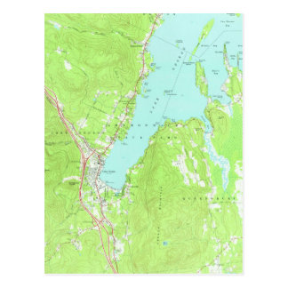 Vintage Map of Lake George New York (1966) 2 Postcard