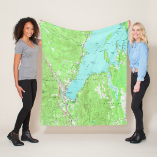 Vintage Map of Lake George New York (1966) Fleece Blanket