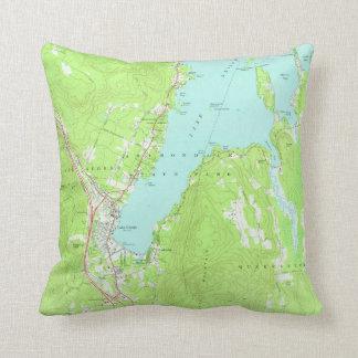 Vintage Map of Lake George New York (1966) Throw Pillow
