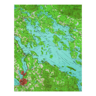 Vintage Map of Lake Winnipesaukee (1956) Poster