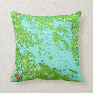Vintage Map of Lake Winnipesaukee (1956) Throw Pillow