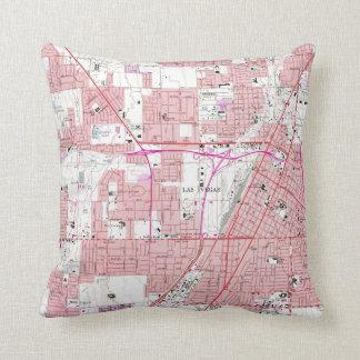 Vintage Map of Las Vegas Nevada (1967) 3 Throw Pillow