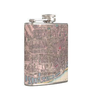 Vintage Map of Liverpool England (1890) Flasks