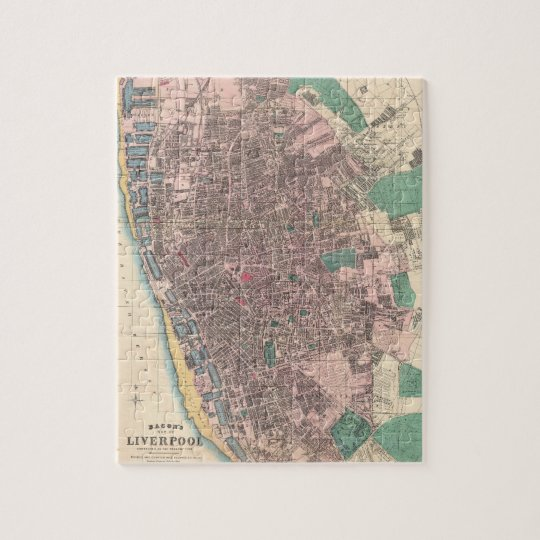 Vintage Map of Liverpool England (1890) Jigsaw Puzzle
