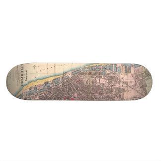 Vintage Map of Liverpool England (1890) Skate Board Deck