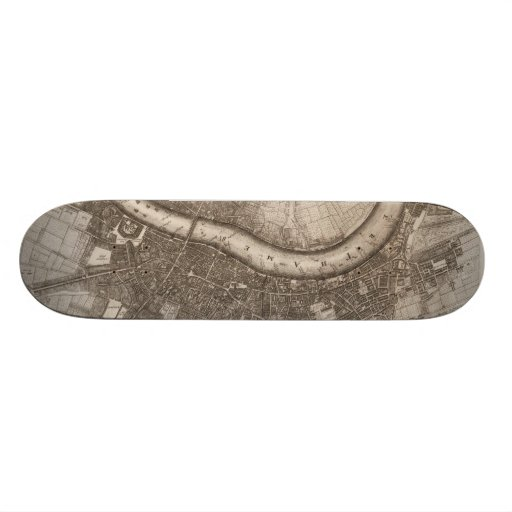 Vintage Map of London (1693) Skateboard