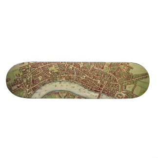 Vintage Map of London 17th Century Skate Boards
