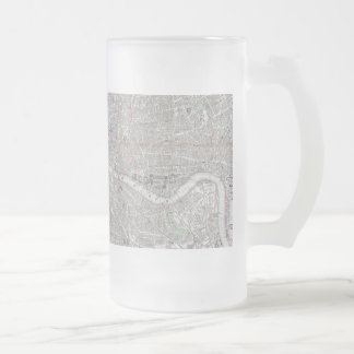 Vintage map of London city Frosted Glass Beer Mug