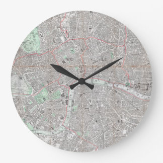 Vintage map of London city Large Clock