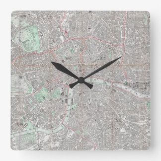 Vintage map of London city Square Wall Clock