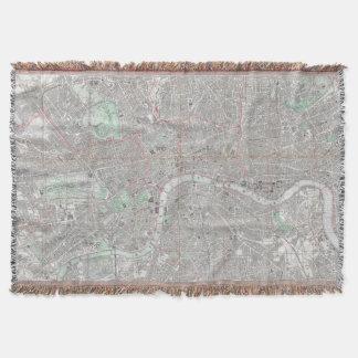 Vintage map of London city Throw Blanket