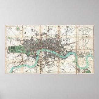 Vintage Map of London England (1806) Print