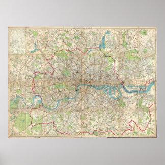 Vintage Map of London England (1899) Print