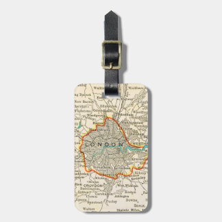 Vintage Map of LONDON Luggage Tag