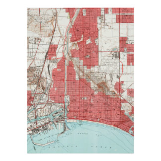 Vintage Map of Long Beach California (1949) 3 Poster