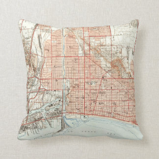 Vintage Map of Long Beach California (1949) Throw Pillow