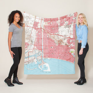 Vintage Map of Long Beach California (1964) 2 Fleece Blanket