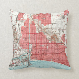 Vintage Map of Long Beach California (1964) 2 Throw Pillow