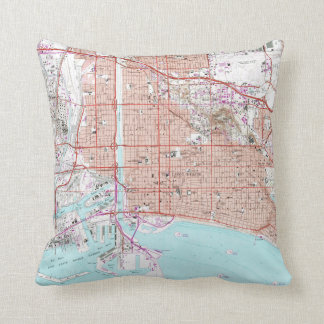 Vintage Map of Long Beach California (1964) Throw Pillow