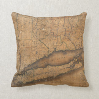 Vintage Map of Long Island and Connecticut (1815) Throw Pillow