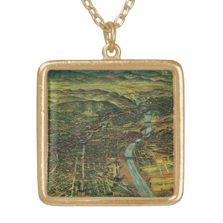 Vintage Map of Los Angeles, California and River Gold Plated Necklace