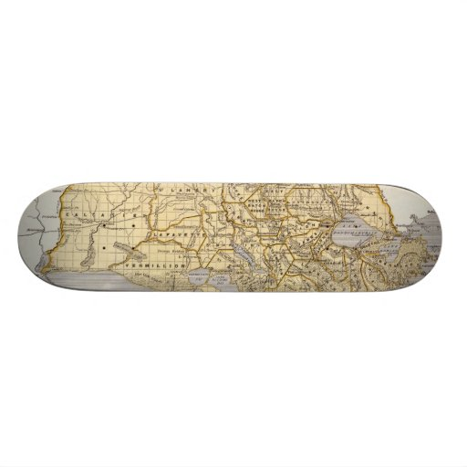 Vintage Map of Louisiana (1845) Skateboard Decks