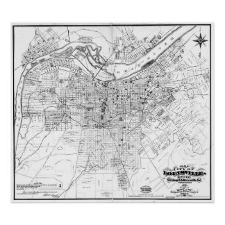Vintage Map of Louisville Kentucky (1873) BW Poster