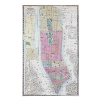 Vintage Map of Lower Manhattan (1865) Poster