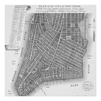 Vintage Map of Lower New York City (1807) BW Poster